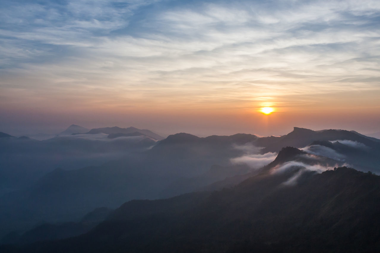 High Angle View Of Mountains Against Cloudy Sky At Sunset
