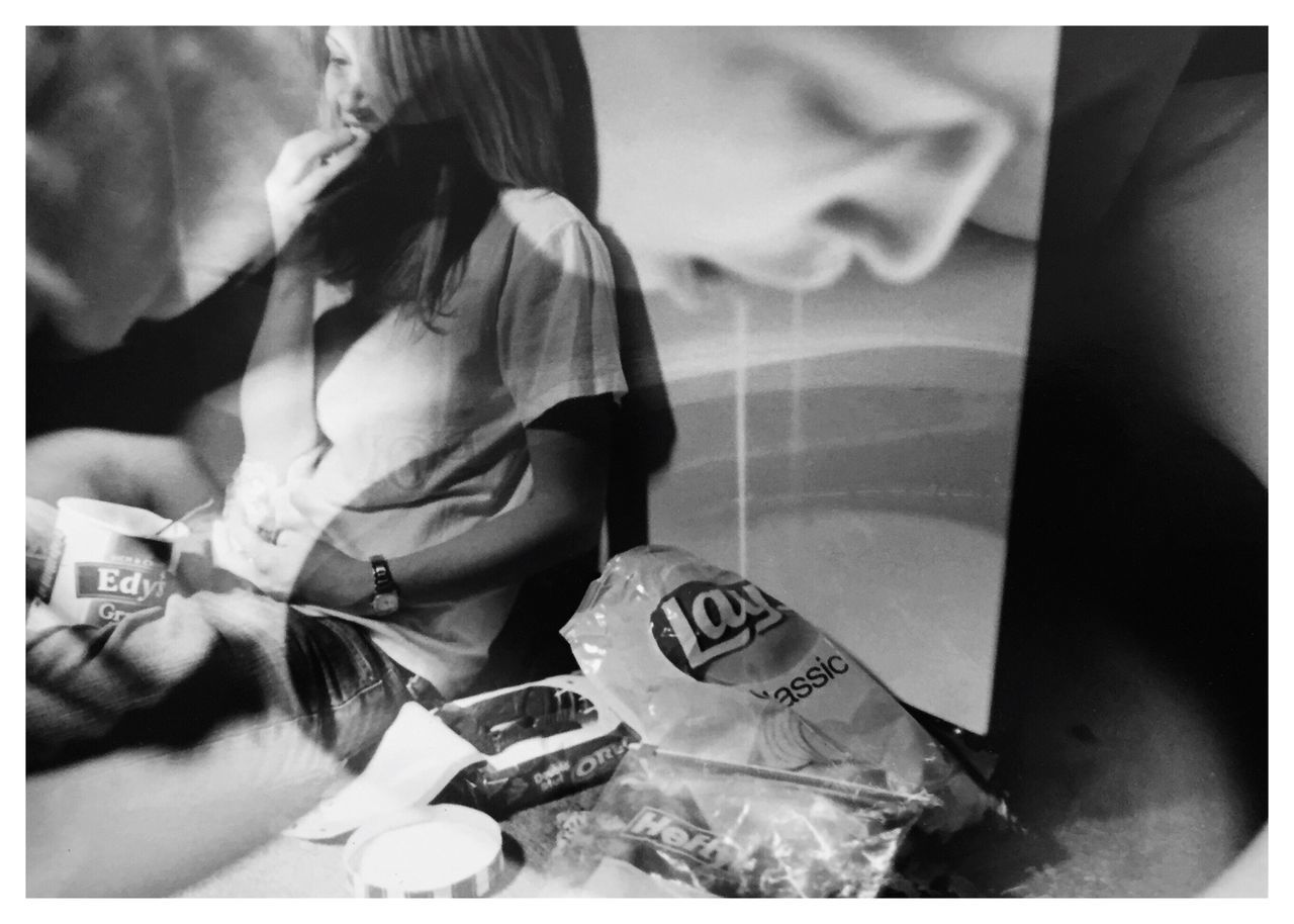 "Compulsions 3. From my series of 12 photos, entitled ""Addictions, Obsessions, Compulsions"". Shot on Kodak TMax 100 film with my Canon EOS Rebel K2. [binge/purge] Compulsions Binge Eating Purging Conceptual Photography  Film Photography Sandwiched Negatives Double Exposure Story Photography Conceptual Image Conceptual Self Portrait Contrast Inspired By Cindy Sherman Cindy Sherman Blackandwhitephotography B&W_collection"