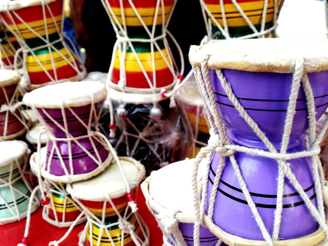Close-Up Of Drums For Sale