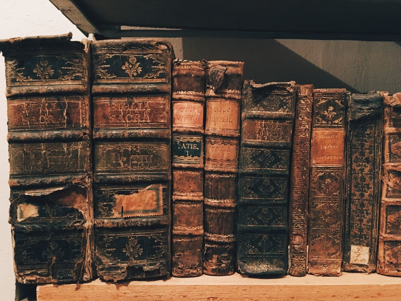 Antique Books On Shelf At Museum