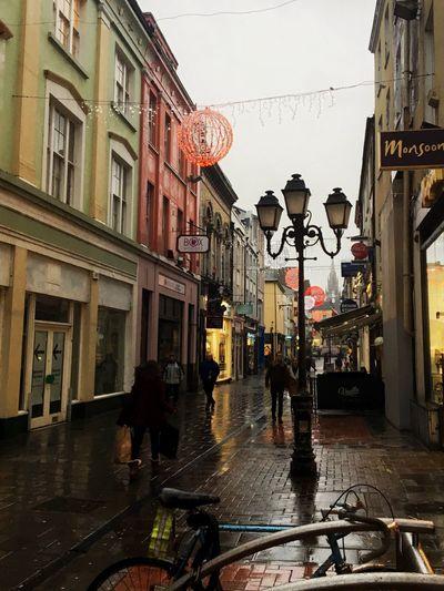 Side street Building Exterior Architecture Built Structure City Rainy Days Rain Cork Cork City Ireland🍀 Ireland Lamp Post Lamp Streetphotography Street