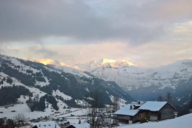 Nice sunset in the swiss alps Alps Alps Switzerland Beauty In Nature Cold Temperature Lenk Mountain Mountain Range Nature No People Outdoors Simmental Sky Snow Snowcapped Mountain Switzerland Winter