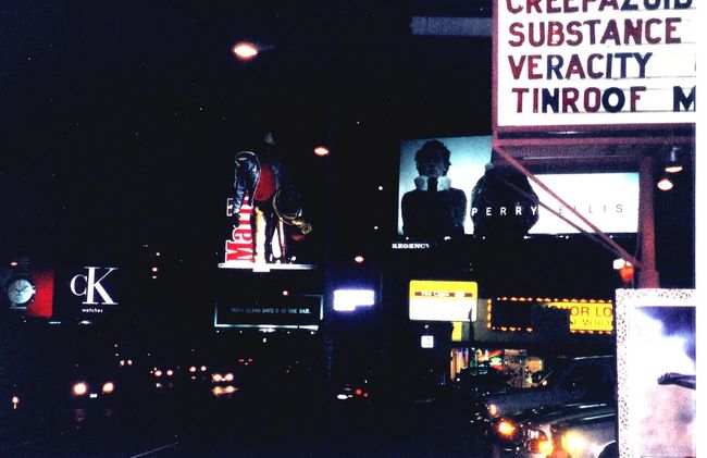 Sunset Blvd., Los Angeles, CA - film photography, also my old band on the marquee Veracity Urban Lifestyle Veracity Urban Los Angeles, California Sunset Blvd. Rock'n'Roll Music Musician Film 35mm Film