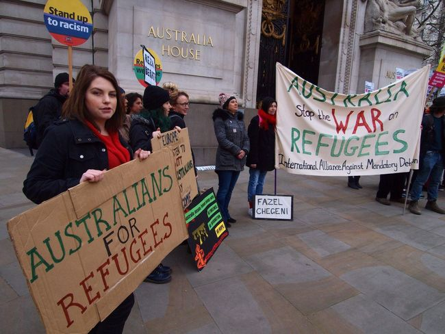 Australia House. Refugees Welcome Here. Protest against Australian immigration policy. London. 19-03-16 Protest Steve Merrick Refugeeswelcome London Immigration Australia House Britain Politics Zuiko Olympus Protesters Stevesevilempire Protesting