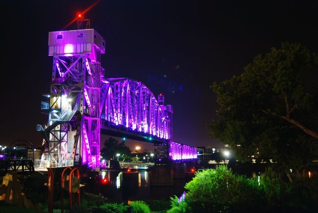 LittleRockArkansas Purple Bridge Bridge - Man Made Structure Arkansas River Arkansas Nightphotography June 2016 June Showcase