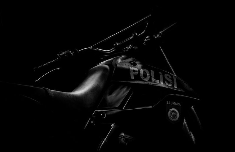 Standby Police Motorcycle Art Photography Motorcycle Police Motorcycle B&w Black And White Black And White Photography Black Background Bw Bw Photography Close-up Indonesia Police No People Police Polisi  Polisi Indonesia Sabhara