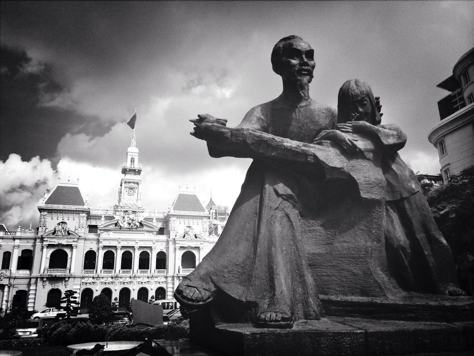 Uncle Ho and the City Hall Blackandwhite Traveling Architecture Streetphotography