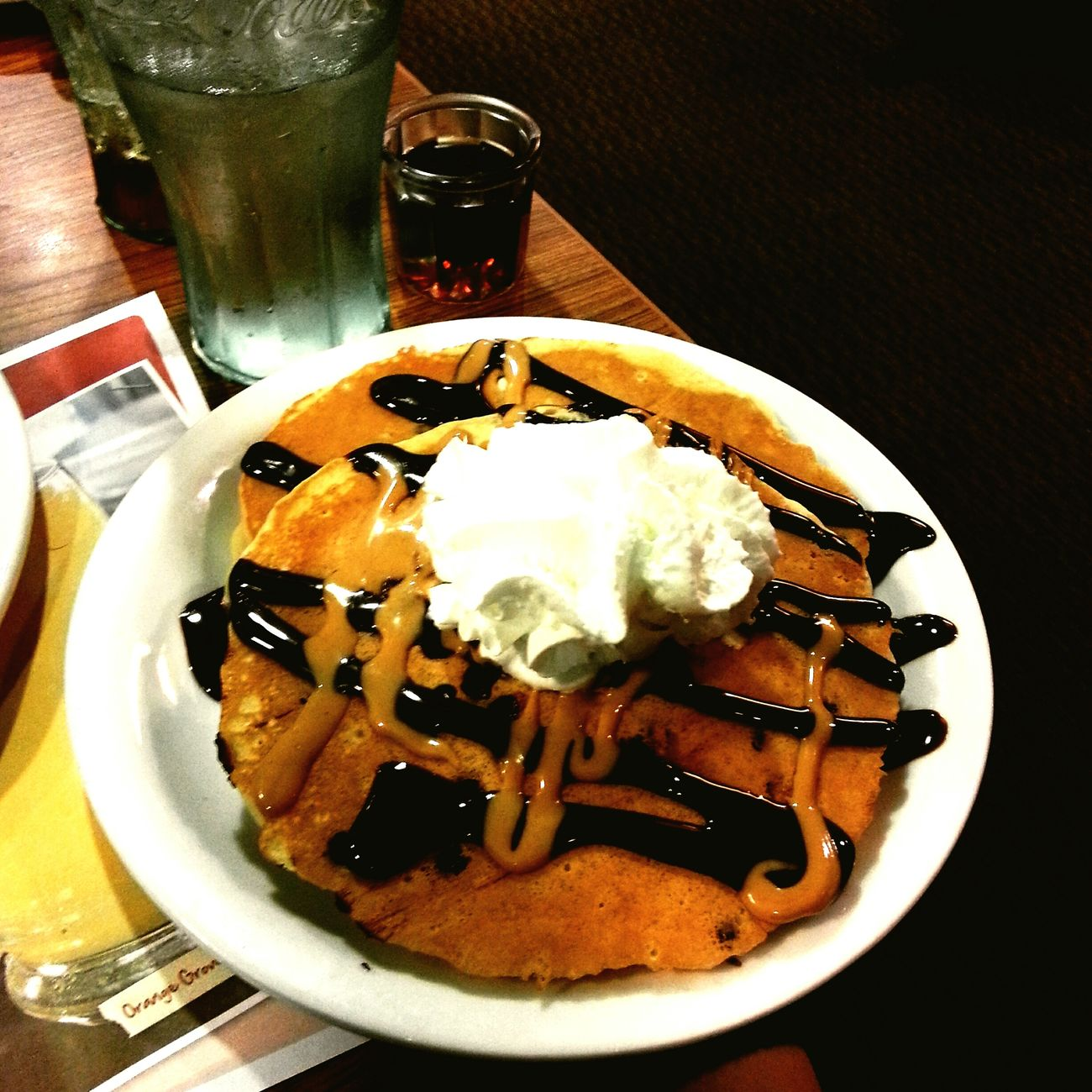 peanut butter and chocolate pancakes! Pancakes Denny's Breakfastforeverymeal Pbandchoco