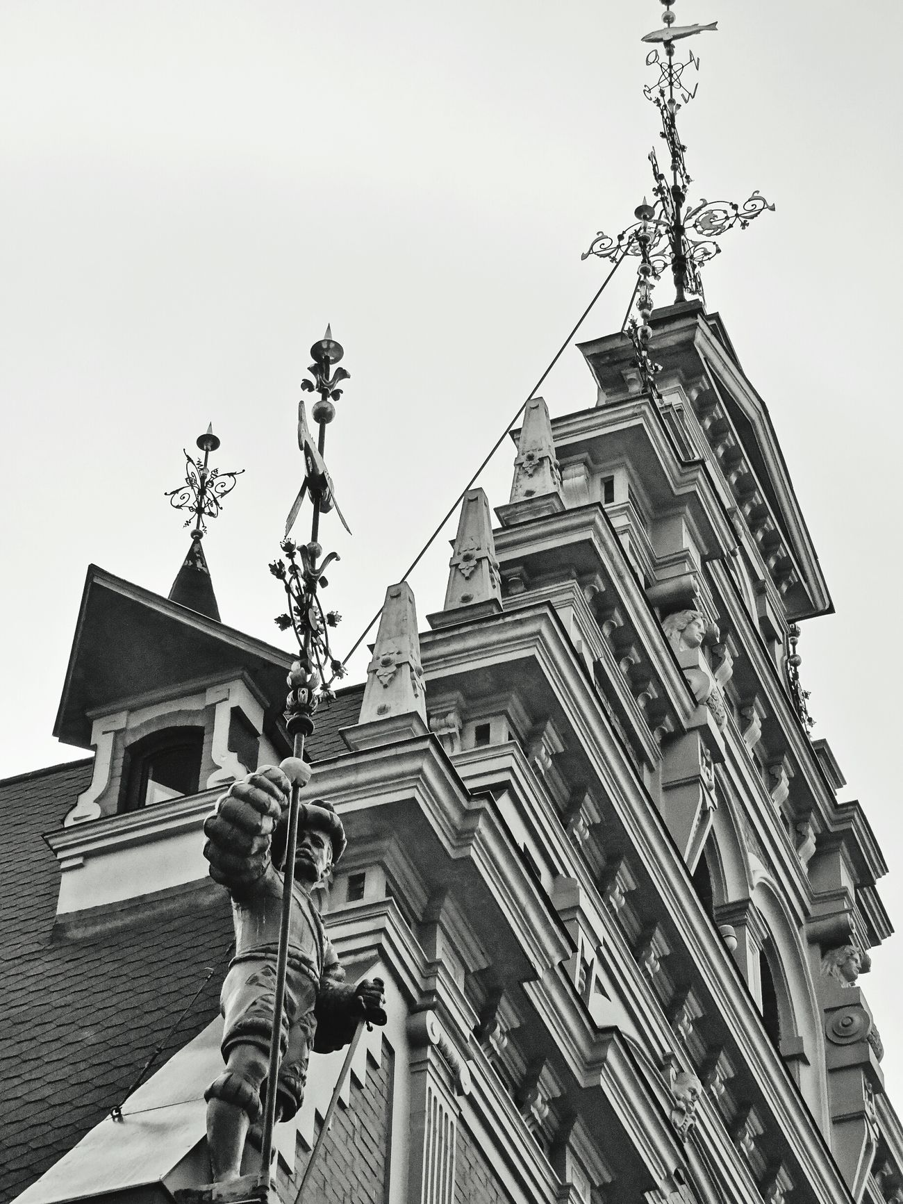 Latvia Riga Architecture Vecriga Black & White