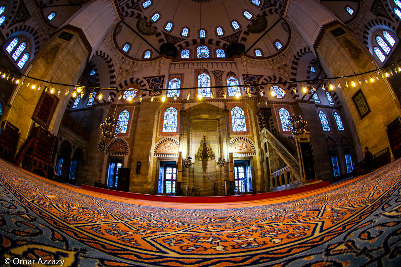 istanbul mosques Architecture Window Religion Travel Destinations Low Angle View Place Of Worship Indoors  No People Built Structure Day History City Travel Architecture Fisheye