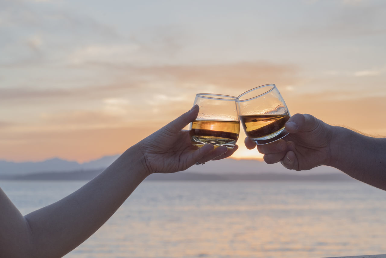 Adult Adults Only Beach Close-up Connection Couple Day Friendship Happiness Holding Human Body Part Nature Outdoors People Romantic Sky Summer Sunset Toasting Togetherness Two People Vacations Water Whiskey Women