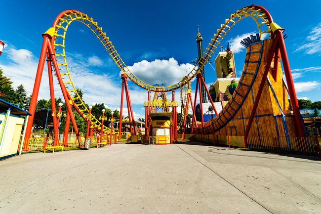Look and see the Special Event in this Pic. The Cloud make a Break on a Rollercoaster.(and i was also on the way to a Beer break ;- ) Amusement Park Ride Architecture Blue Cloud - Sky Low Angle View No People Original Experiences Outdoors Sky Travel Destinations Showcase June