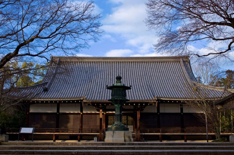 Sky Building Exterior Built Structure Bare Tree Tree Architecture Outdoors Day No People Statue Low Angle View Sculpture Nature Japan Kyoto Ninnaji 仁和寺