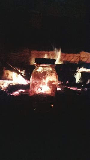 Illuminated Burning Outdoors Nightlife Close-up Night Fire And Flames Moonshine Firepit Countrylife