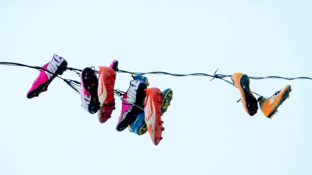 Hanging Laundry Clothesline Arts Culture And Entertainment Drying Domestic Life No People Sky Outdoors Day Shoes ♥