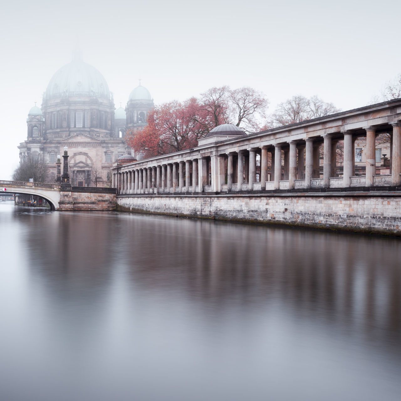Berlin Cathedral during a foggy morning in autumn Architecture Autumn Mood Berlin Cathedral Berlin City Berlin Travel Berliner Dom Bridge - Man Made Structure Building Exterior Built Structure City Cityscape Day Dome Fineart International Landmark Longexposure No People Outdoors Philipp Dase Reflection Spree River Berlin Travel Destination Travel Destinations Urban Icon Water
