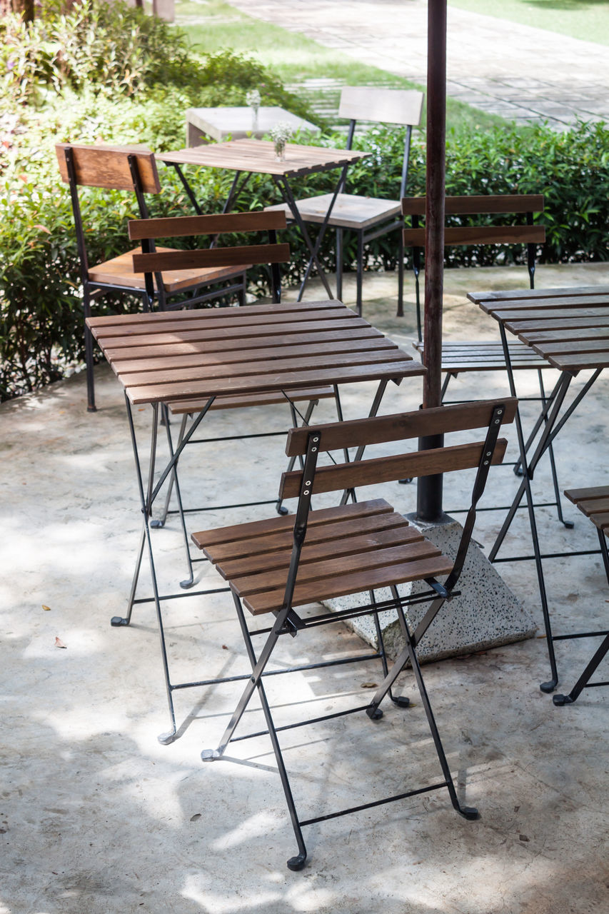 chair, table, furniture, wood - material, empty, absence, seat, relaxation, no people, outdoor chair, nature, day, outdoors