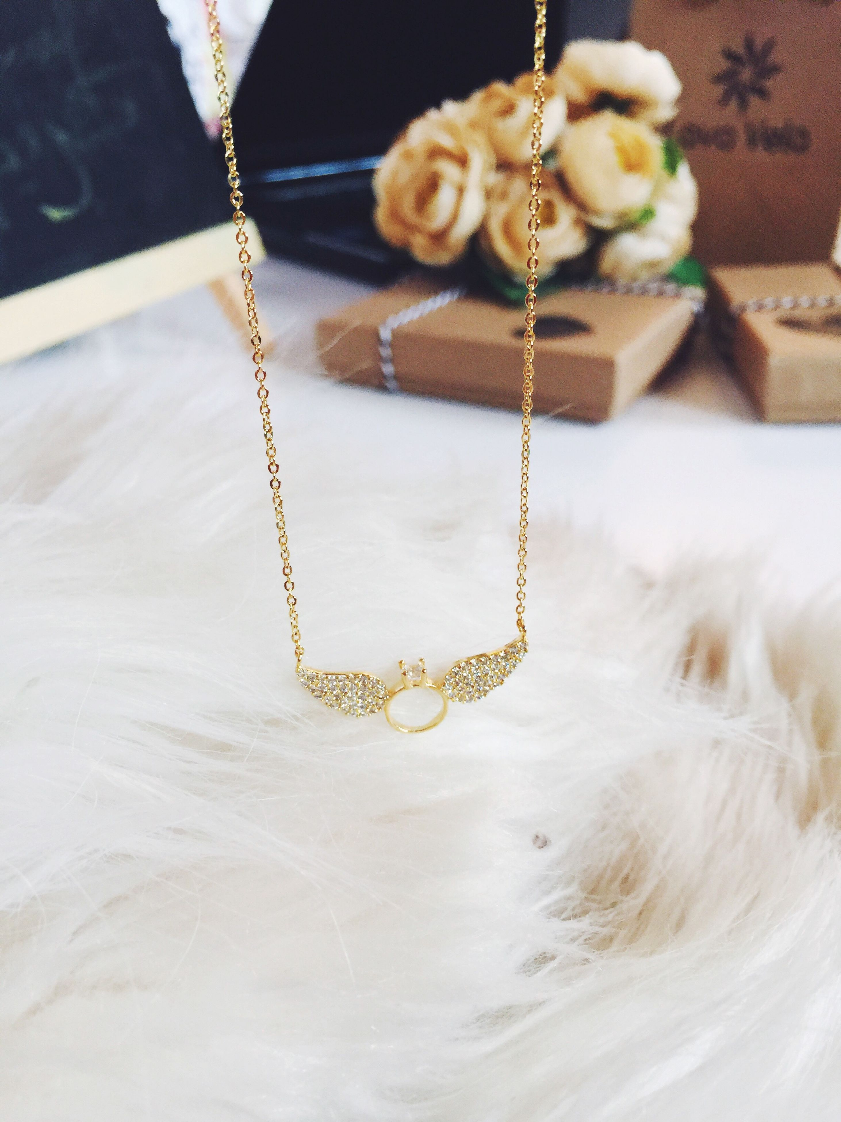 necklace, indoors, jewelry, no people, close-up, gold colored, day