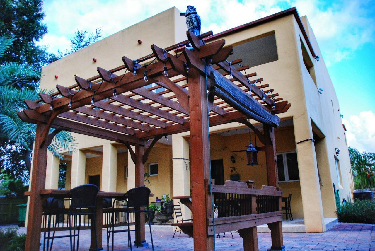 Architecture Built Structure Building Exterior Sky Architectural Column Cloud Cloud - Sky Outdoors Day Luxury Home Home Decor Backyard Pergola Mediterranean Style Tampa Florida Home Perspective Balcony Stucco Dramatic Angles