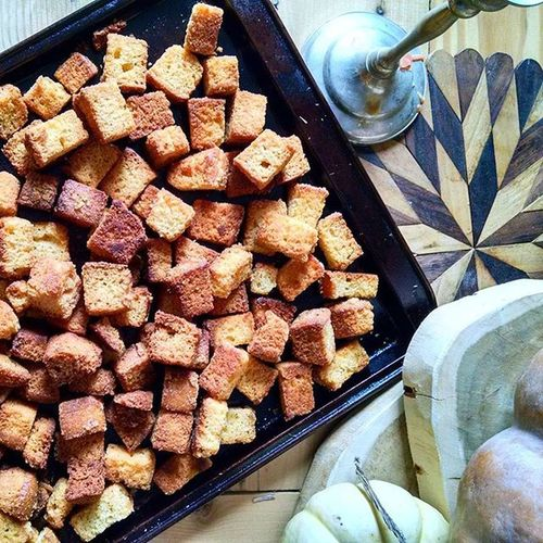 Gearing up for my favorite time of year. I f*cking love Thanksgiving. Cornbreadstuffing Food Foodporn Thanksgiving Foodstyling Cooking