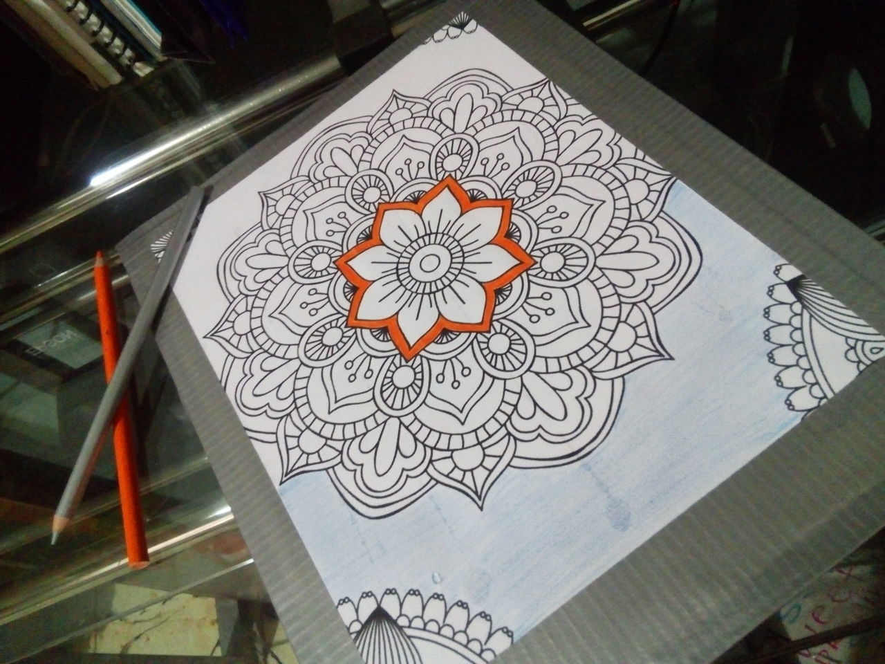 Mandala Flowers Sketch Art Stencil Art Shapes Art And Craft Creativity No People Pattern Indoors  Drawing - Art Product Architecture Day Silver Colored Orange Color