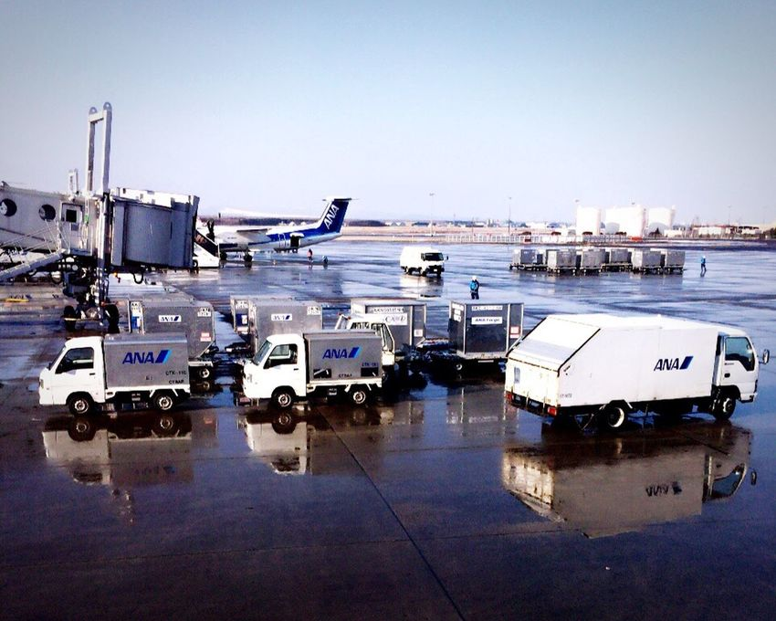 Reflection Water Reflections Reflections Cars Airport Airplane Ana All Nippon Airways New Chitose Airport