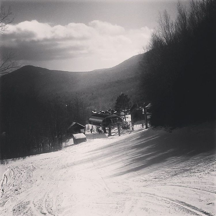 Twas the last day of stowe Stowe Vt Snow Snowboarding Mountain Slopes Monochrome