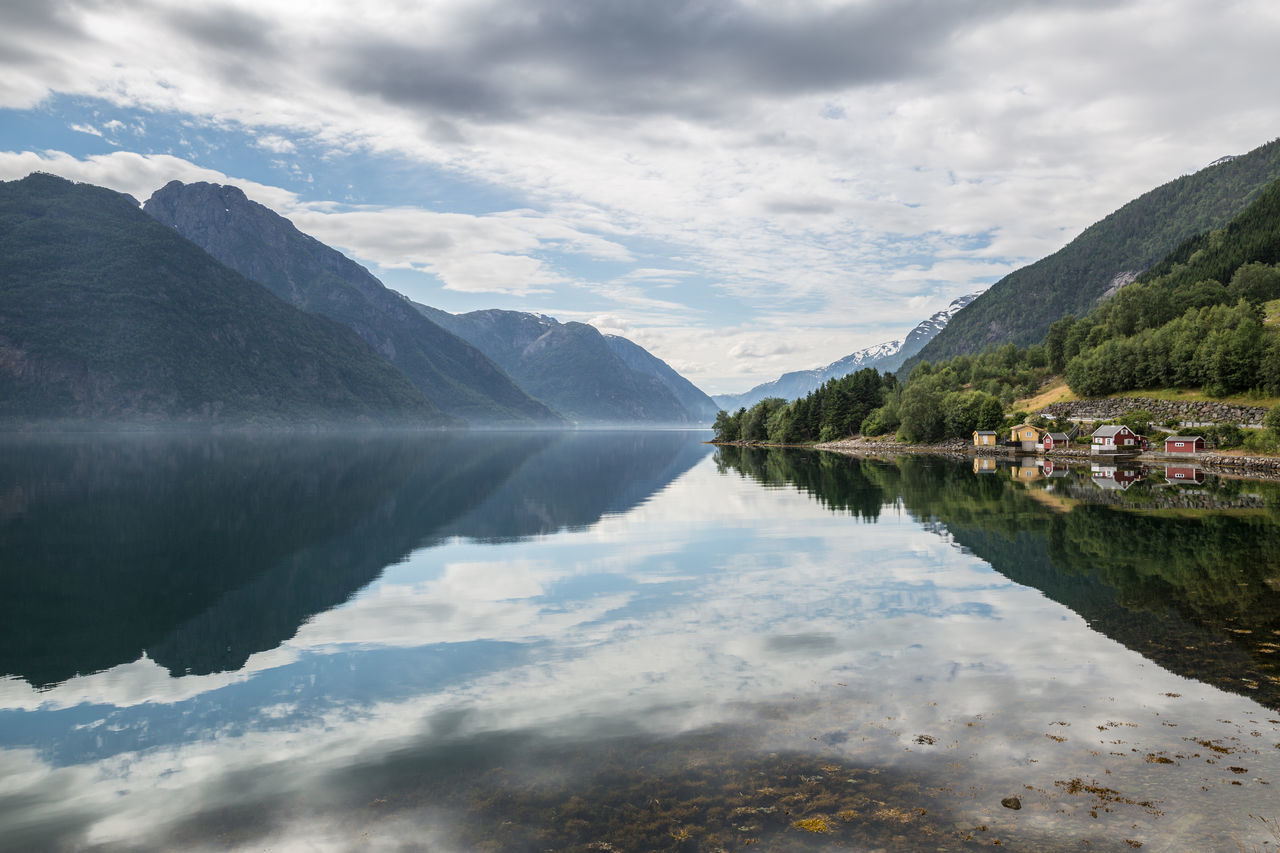 Beauty In Nature Cloud Cloud - Sky Cloudy Crystal Clear Waters Dramatic Sky Fjord Horizontal Symmetry Idyllic Landscape Landscapes With WhiteWall Mountain Mountain Range Nature Reflection Reflections Scenics Sky Standing Water Water Water Reflections Sørfjorden Odda