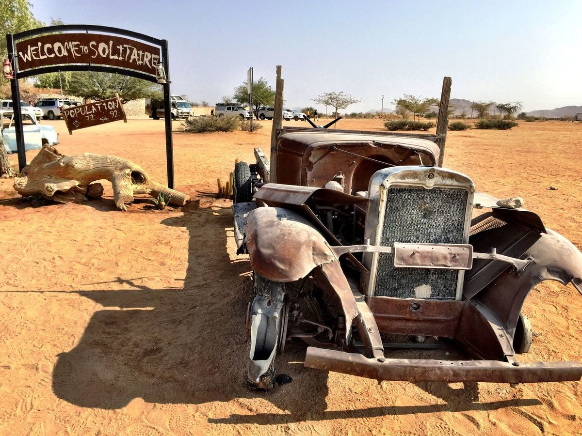 Rest Area Solitaire Abandoned Car On The Road Namibia ShotOniPhone6 Africa Namibian Old Car Antique Car