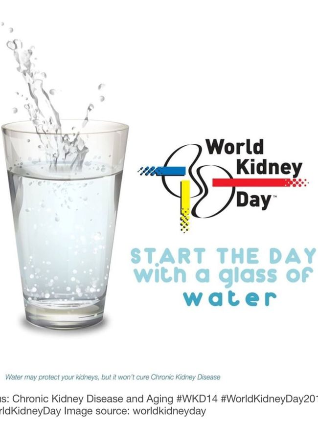 March is World Kidney Month and March 12, 2015 is World Kidney Day. Start your day by drinking water everyday. Get tested. A simple blood, urine tests and blood pressure and weight checks are simple and inexpensive. Spread the word and be pro active. Prevention helps a lot. Worldkidneymonth Worldkidneyday Nationalkidneyfoundation WKD15 Kidneys Water Healthylife Health healthinfoforeverybody