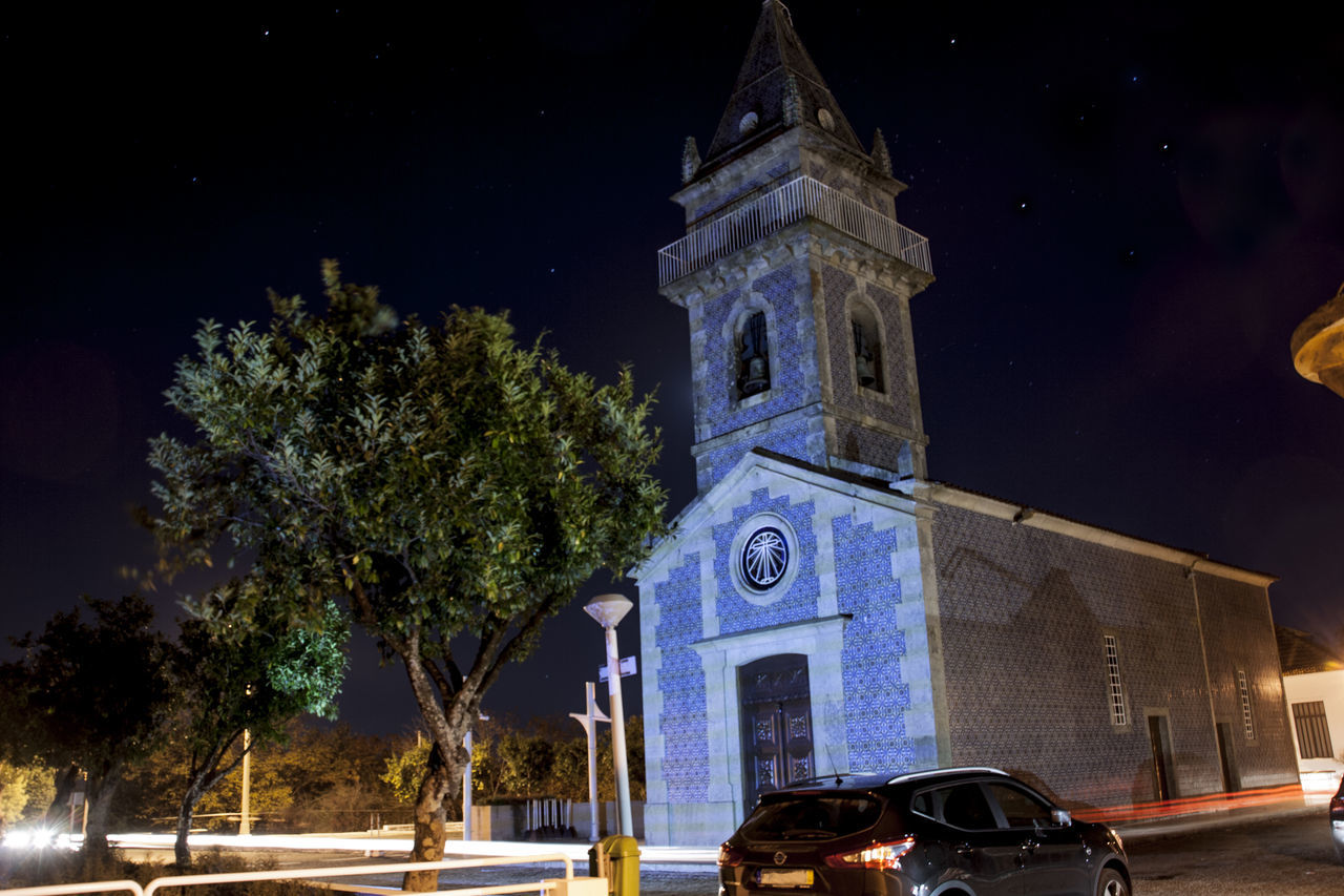 Church Church Tower HighExposition Night Lights Nightphotography Portugal Architecture Bell Tower Moon Night No People Outdoors Spirituality Tree
