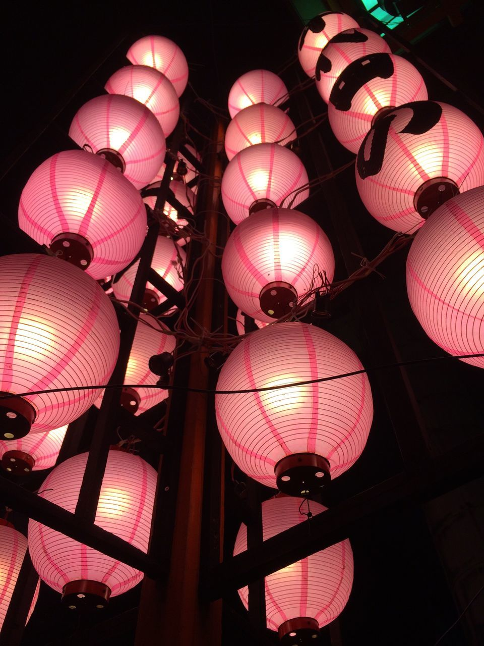 lighting equipment, chinese lantern, lantern, hanging, illuminated, decoration, low angle view, chinese lantern festival, night, no people, red, indoors