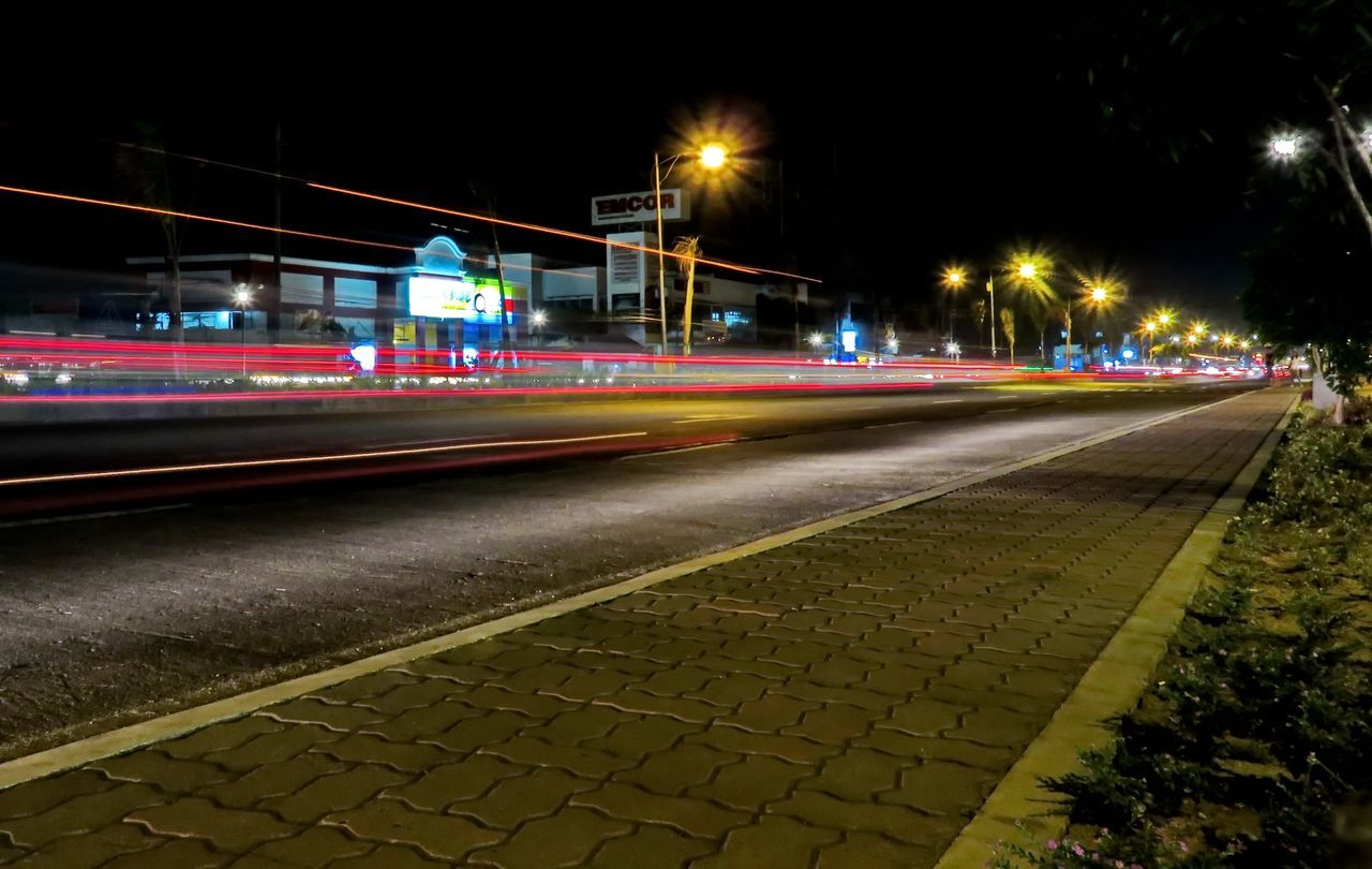 illuminated, night, speed, light trail, long exposure, motion, blurred motion, transportation, high street, outdoors, no people, urban scene