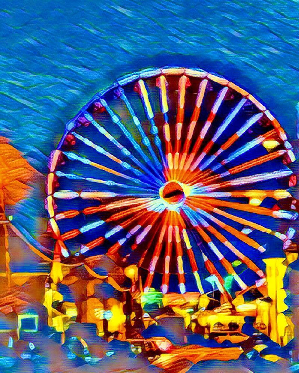 multi colored, no people, blue, ferris wheel, day, outdoors, close-up