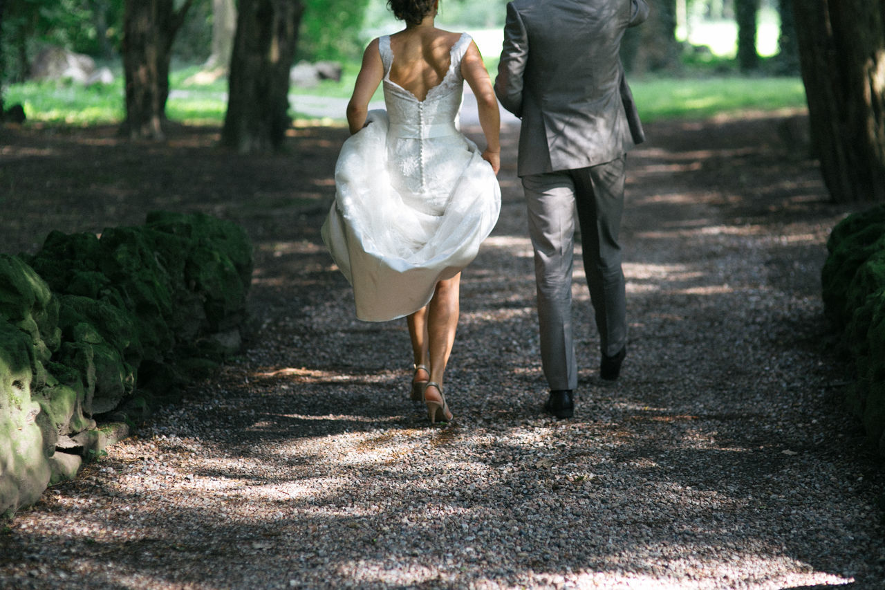 Bride Bride And Groom Day Footpath Forest Groom Just Married Outdoors Path Selective Focus Suit Tree Walking Walking Away Wedding Wedding Dress
