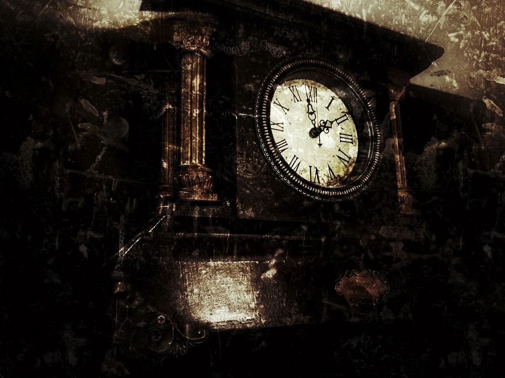 Old Old Fashion Clock Indoors  Dark Dusty Roman Numerals Browm