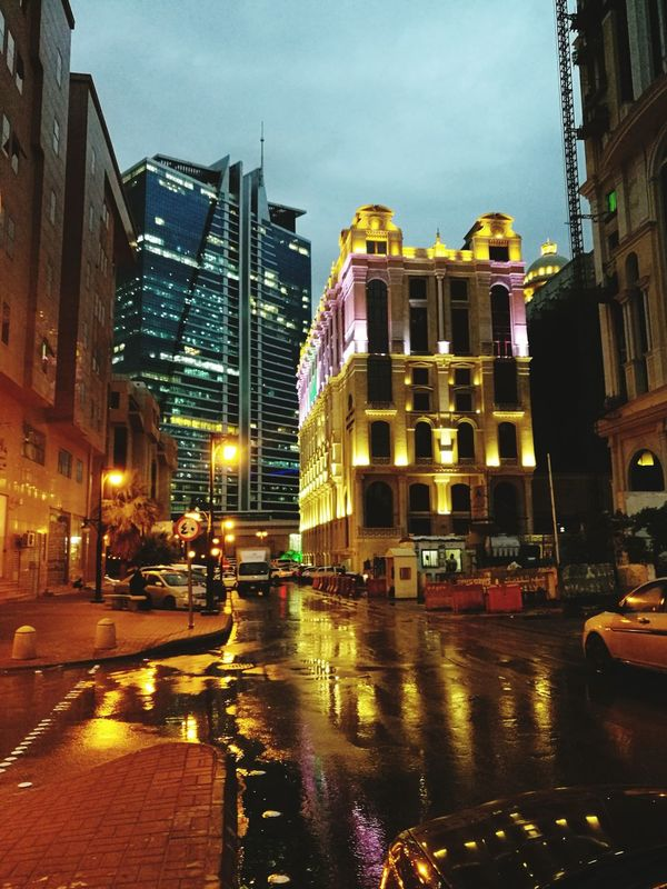 City Night Nightlife Outdoors Rainy Night Rain Riyadh KSA Architecture Business Finance And Industry Office Building Exterior Downtown District