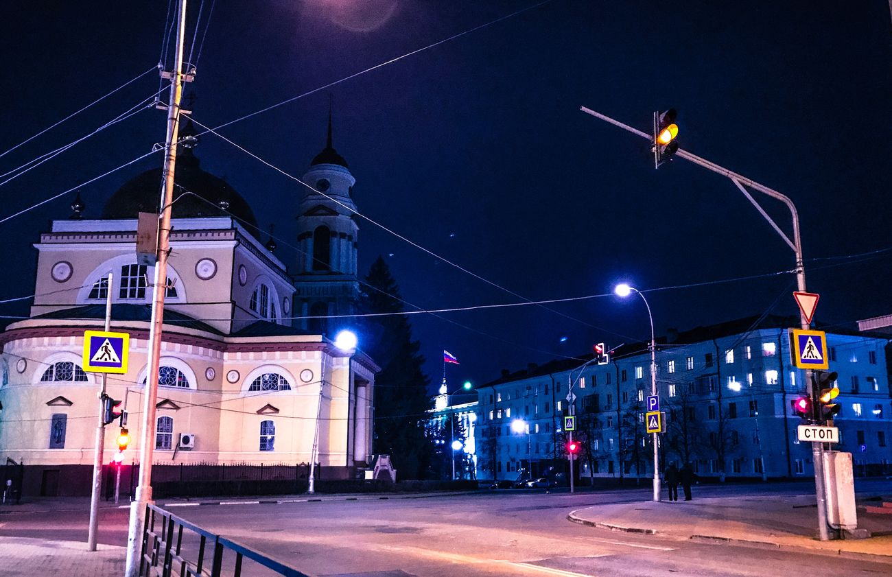 Night Illuminated Architecture Transportation Built Structure Building Exterior City Outdoors No People Sky City Gate липецк Lipetsk