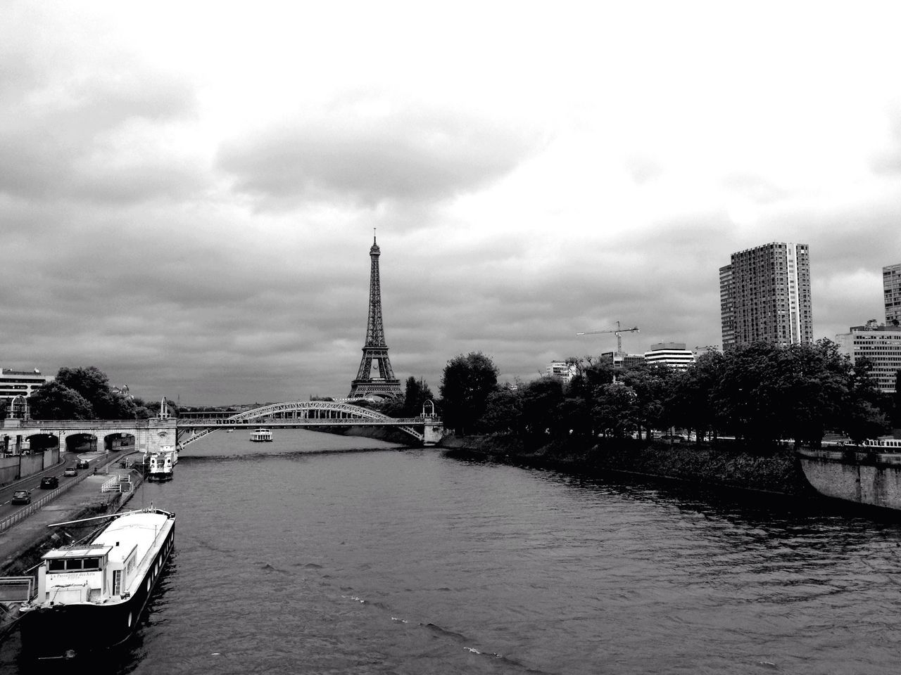 Beautiful stock photos of eiffel tower, Architecture, Boat, Bridge - Man Made Structure, Built Structure