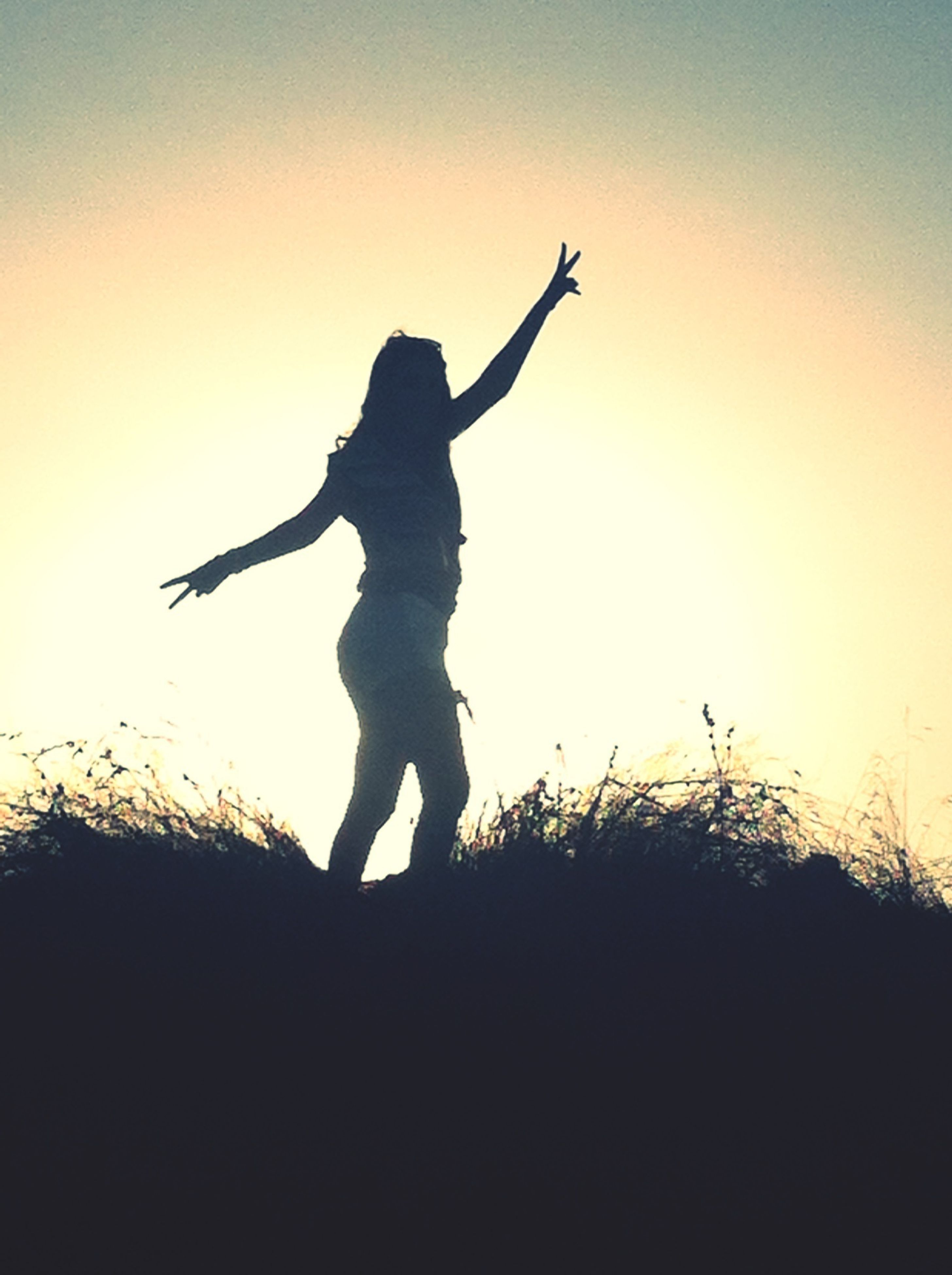 silhouette, sunset, clear sky, copy space, orange color, nature, bird, one person, sky, sun, outdoors, low angle view, full length, beauty in nature, sunlight, animal themes, dusk, outline, field, wildlife