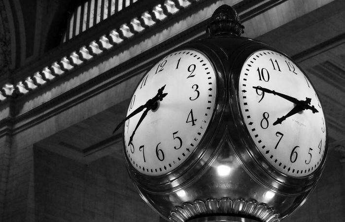Grand Central Station New York Grand Central Station Time Clock Indoors  Minute Hand Low Angle View Clock Face Old-fashioned