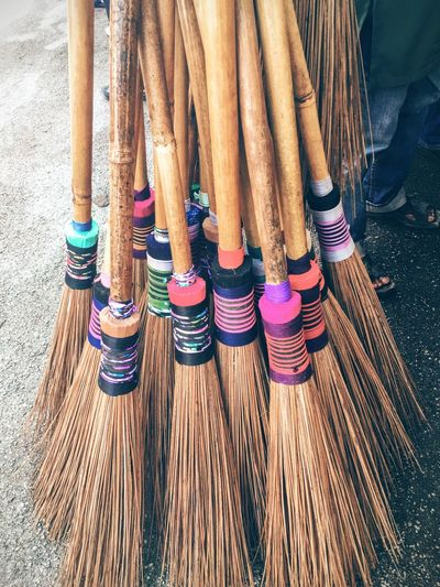 Traditional broomstick Low Section Close-up Togetherness Variation Multi Colored Person In A Row Focus On Foreground Spool Large Group Of Objects