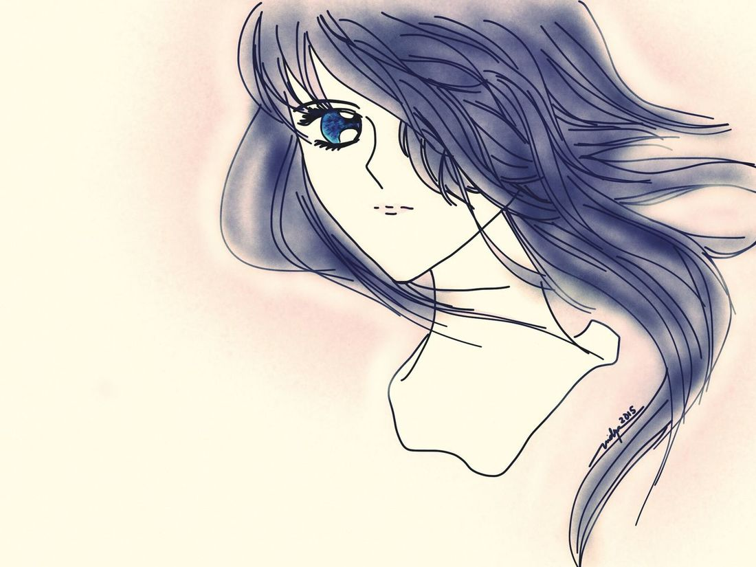 Looking at you only Look Alone Lila Purple Long Hair Manga Self Art