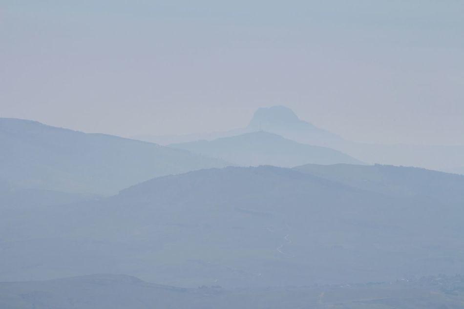 Lamdscape Blue Grey Hills Erice Italy Distance Haze Mist No People
