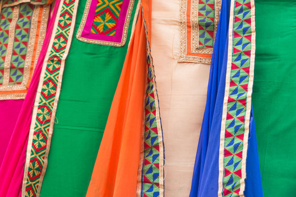 Colourful Indian saris Art Is Everywhere Backgrounds Close-up Day Full Frame Multi Colored No People Outdoors Sari Textile