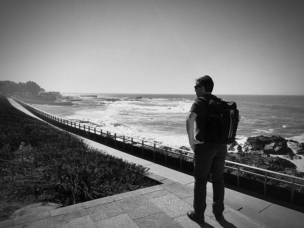 Homem do Leme - beach/ Porto - Portugal Sea One Person Beach Black And White Porto Foz Do Douro Portugal Seaviews