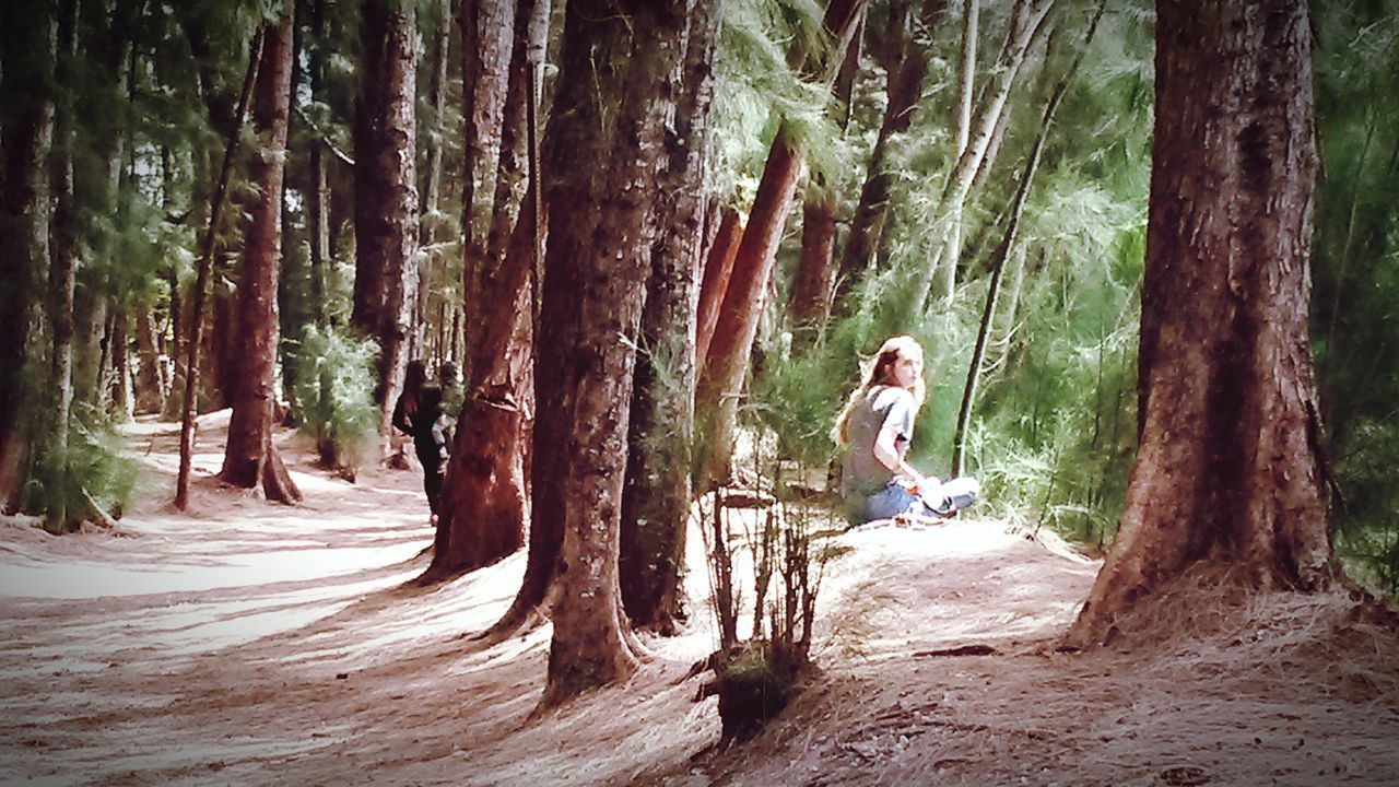 Park in Shade of Pine Trees by Lake, Blonde Girl Sitting on Sandy Bank Restful Place Shadows & Lights Sand Peaceful