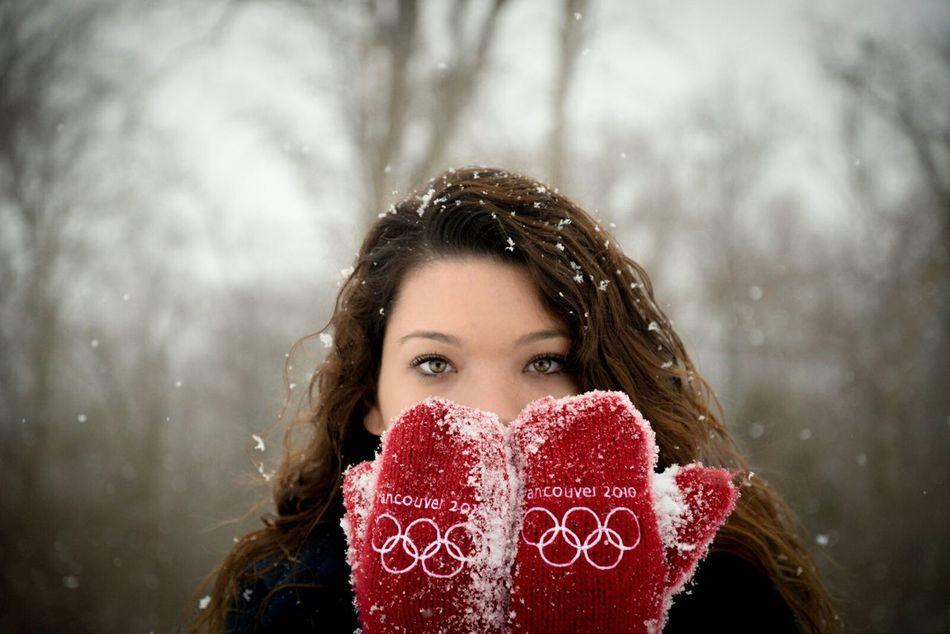 Smitten in Red Mittens Red Red Mittens Mittens Winter Snow Senior Portrait Gorgeous Eyes Teens