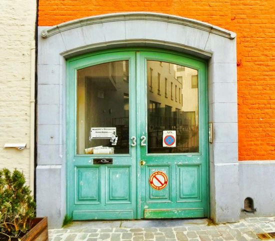 Two door cinema club. Vintage Door Windows Green Color Orange Color Color Photography Mailboxes Plant Decoration Reflections Brick Wall Noparking Sign Architecture Number Bruxellesmabelle