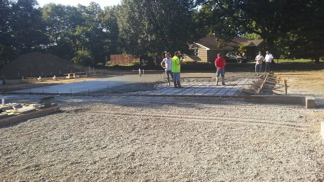 Pouring a concrete floor today.